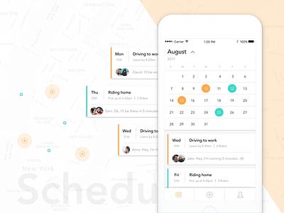 Carpool Schedule minimal date picker list chat calendar schedule carpool mobile app