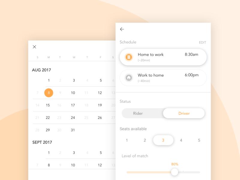 Carpool Filter picker button slider toggle address calendar settings filter carpool mobile app