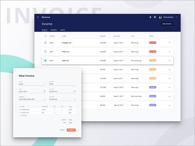 Project Management: Invoices card material invoice management project desktop web app