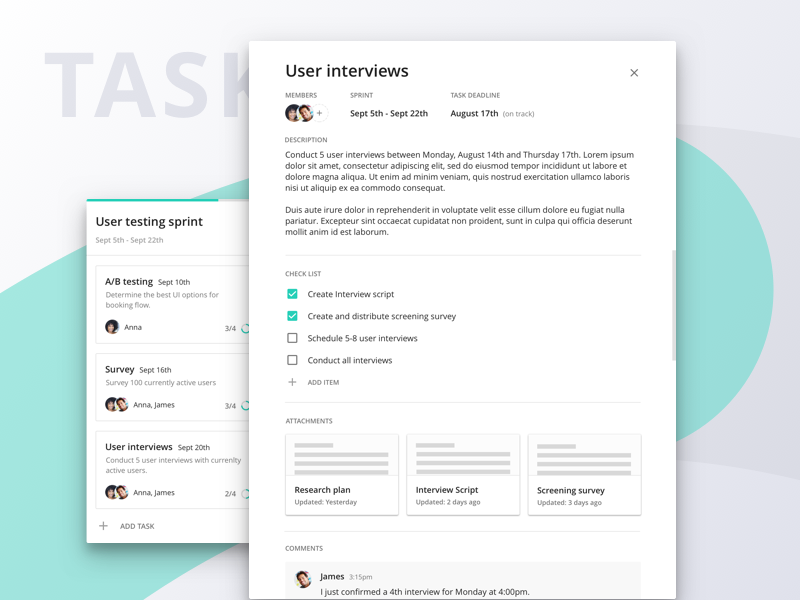 Project Management: Tasks material card scope ux trello to do list task management project desktop web app