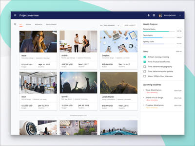 Project Management: Overview card tab drawer progress schedule design material dashboard management project