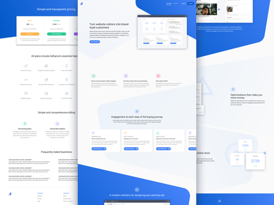 Ad campaign builder - Landing page card material dashboard illustration blue ecommerce pricing homepage landing landing page website web app webapp business b2b saas