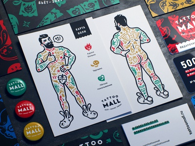 Tattoo Mall. Pain Map. brutal hipster pattern packaging tattoo map pain character man