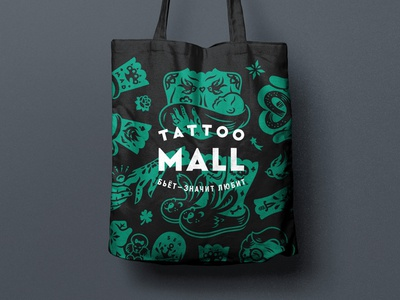 Tattoo Mall. Bag. character bag tattoo pattern packaging illustration branding