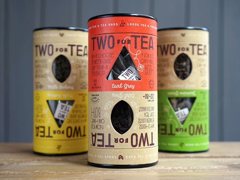 Two for Tea packaging craft organic tea packaging