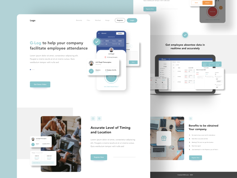 Attendance - Landing Page uxdesign ux ui design uidesign attachment hr human resource layout attendance hero card webdesign landingpage landing homepage web design landing page
