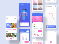 Sarang Wallet - E Wallet Mobile App wallet app blue pink mobile app mobile ui mobile cards credit card creative creditcard credit card track map scan payment pay finance bank wallet