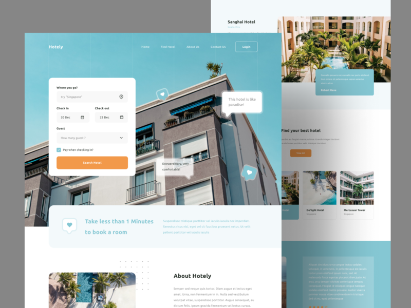 Hotel Booking - Landing Page hotel booking app reservation hotel booking blue webdesign landing pages templates landing page concept landing page design landingpagedesign landing page ui landing pages landingpages landing design landingpage web design hompage design hero design homepage landing landing page
