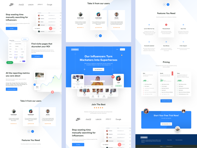 Influencer Discovery Platform - Landing Page landing page design landing page ui landing design landing pages landingpage landing website design web design webdesign website web saas website interface sass landing page sass influencers instagram homepage landing page influencer