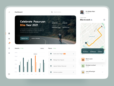 Pancalan - Cycling Dashboard 🚴🏻‍♀️ analytics dashboard bikes bike graphics maps map dashboard design cycle cycling chart analytics chart analytic dashboard ui dashboard