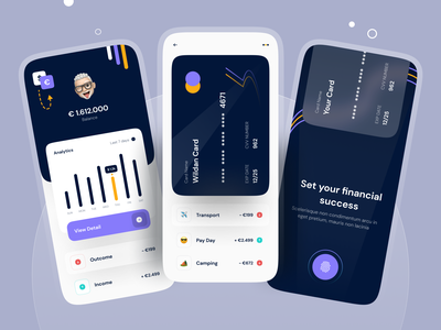 🤑 Personal Banking - Mobile App 🤑 dark ui fingerprint onboarding mobile dashboard dashboad chart credit card dark app mobile app design dark bank banking app banking bank app mobile banking finance mobile app bank