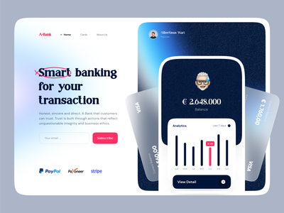 🧧 A Bank Landing Page - Hero Exploration 🧧 chart analytics stats card hero section hero image hero web design webdesign website web landing pages landing page landing landingpage bank card bank app banking app banking bank