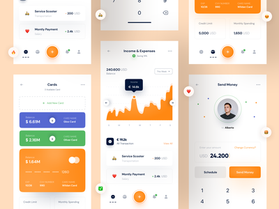 🎁 Mobile Banking - Dashboard mobile ui pay payment transaction income send money transfer credit card bank card chart graphic dashboad bank app mobile app