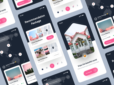 Pignik - Travel App 🐷 pink night dark welcome splash splash screen map card vacation app travel
