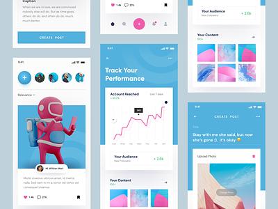 Social Media App posting create post card blue app dashboard app graph stat social social media