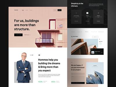 Hommes - Architecture Landing Page personal web portfolio black build building homepage landing hotel landing page architecture