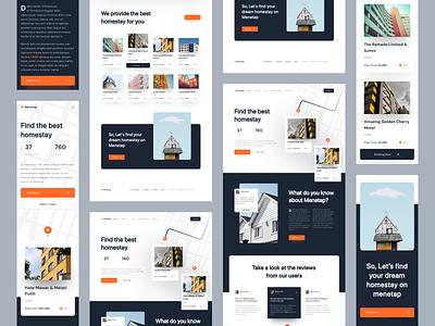 Menetap - Responsive Design map hotel homestay booking responsive homepage landing page