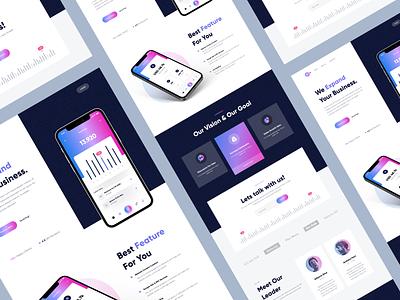 Mineral - Business Landing Page mockup hero graph chart mobile dark website landing page business marketing