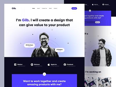 Gilb - Personal Website Portfolio blog hero purple dark mode portfolio personal web design web website landing page