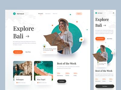 Bali island - Travel Website card clean beach bali travel hero web web design landing page website
