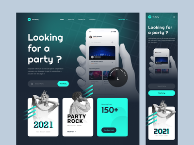 Event & Party - Web Design card party event map dark dark mode landing page website web design web