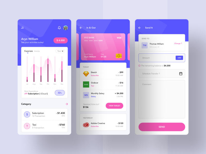 Finance App Concept mobile dashboard dashboard chart purple pink payment form payment app payments pay transfer finance financial in out finance business credit card card payment finances finance app finance