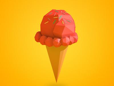 [Low Poly] Ice Cream Cone