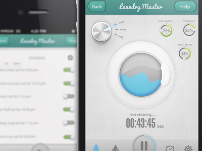 Dribbble Preview iphone app design psd clean minimal laundry knob control fresh debut first shot ios illustration