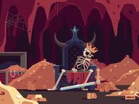 Brutal Sweden throne character cave sword treasure skeleton skull landscape