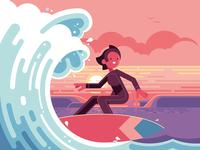 Surfer − Oxford MathsBeat oxford ocean wave landscape sunset character surfing surf