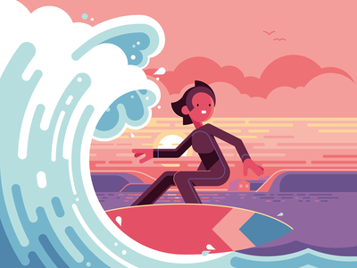 Surfer − Oxford MathsBeat oxford ocean wave landscape sunset character surfing surf