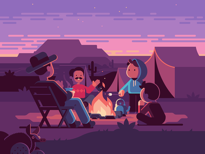 Campfire Tales − Oxford MathsBeat landscape sunset kettle marshmallow character armadillo night tent campfire camp desert