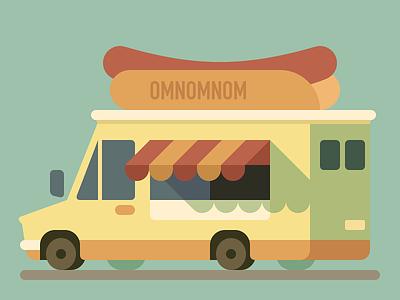 Omnomnom Truck vehicle minivan food truck truck omnomnom hot dog flat van fast food car