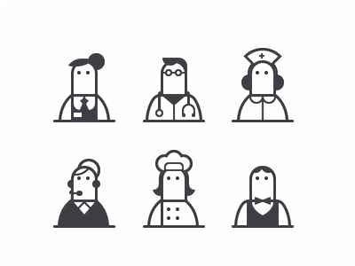Busy fingers fingers md doctor nurse clerk support waiter chef glyphs icons monochrome glyph