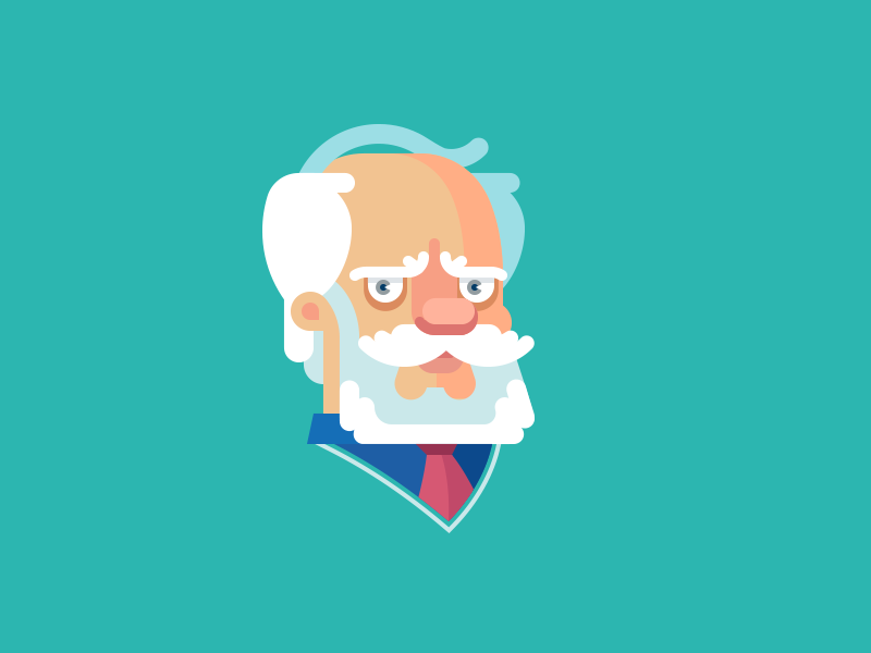 Professor professor face character beard moustache flat