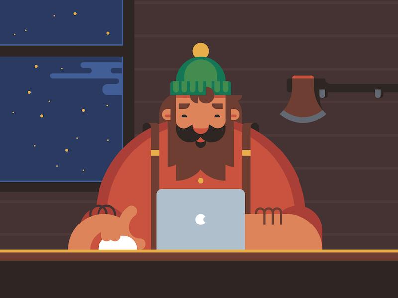 Lumberjack workplace lumberjack axe macbook logger character macintosh computer cabin paul bunyan holiday beard