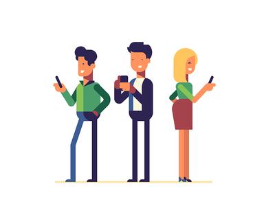 Traders trade trader app character smartphone flat illustration