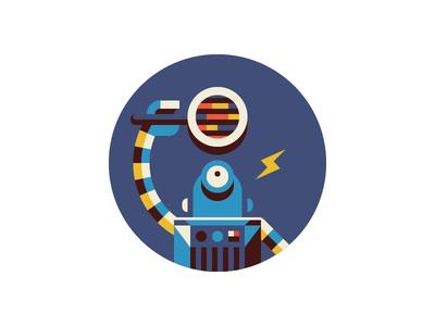 CircleCI / Test Improvements robot magnifier code bolt lightning illustration badge reward