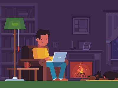 Cozy living room workplace laptop fireplace dog doberman character floor lamp armchair bookshelf interior mondrian