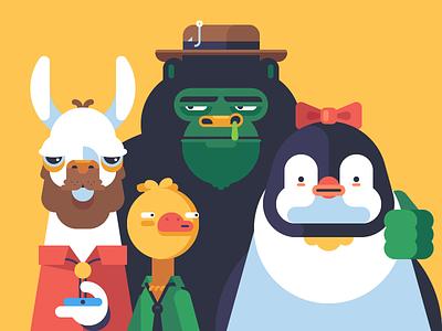 Fellas beard llama penguin gorilla duck hat booger animal shirt character monkey