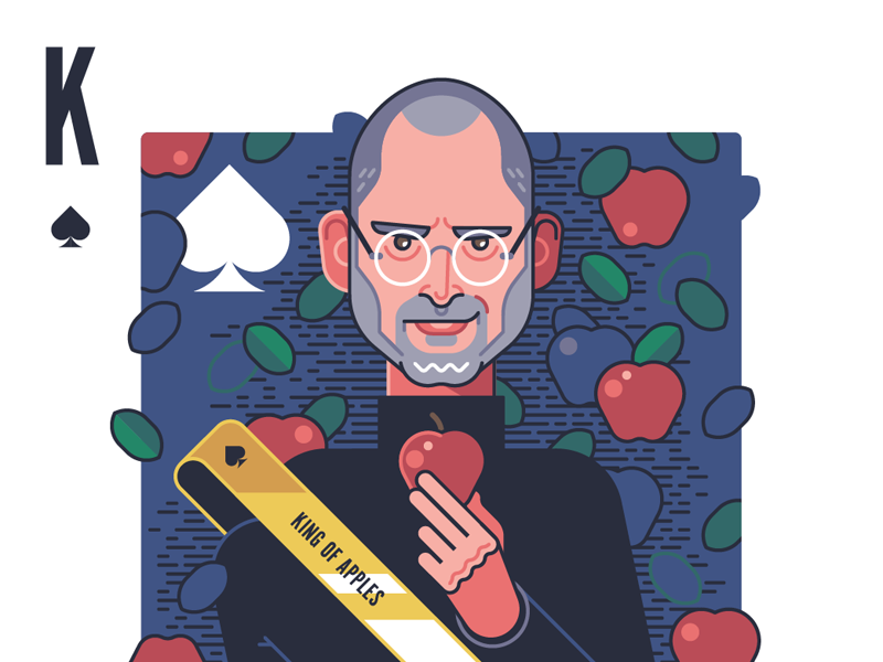 King of Apples playing card kickstarter character face king spades steve jobs apple playing cards