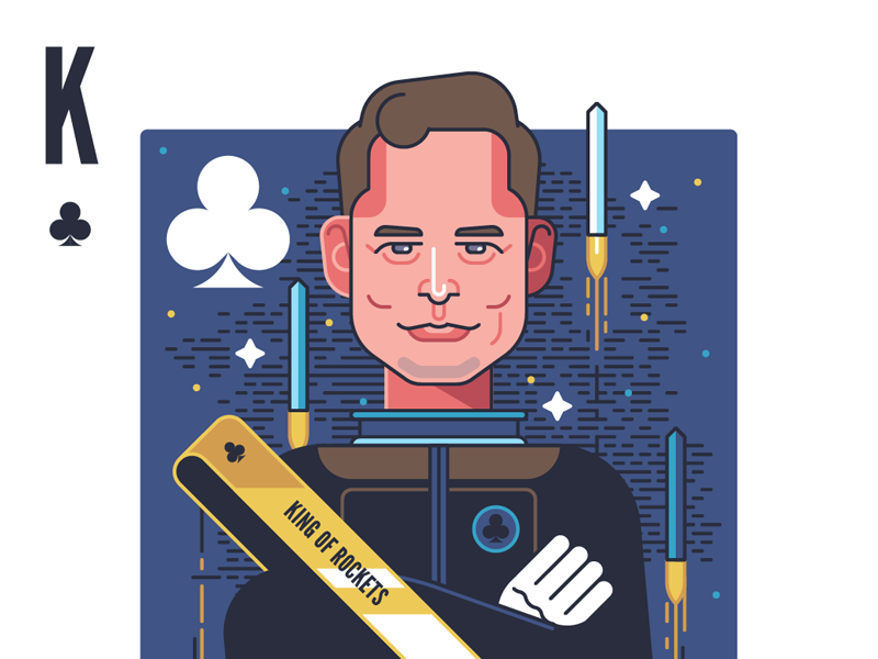King of Rockets spacex king clubs face character playing cards playing card space rocket elon musk