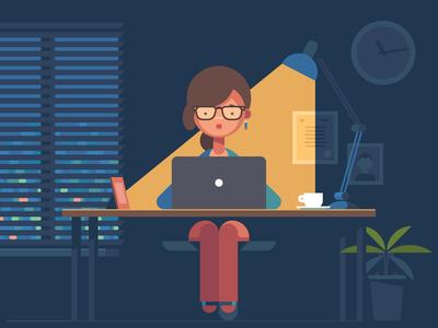 'Twas the night before deadline workplace lamp lighting window girl night blinds room office desk macbook character