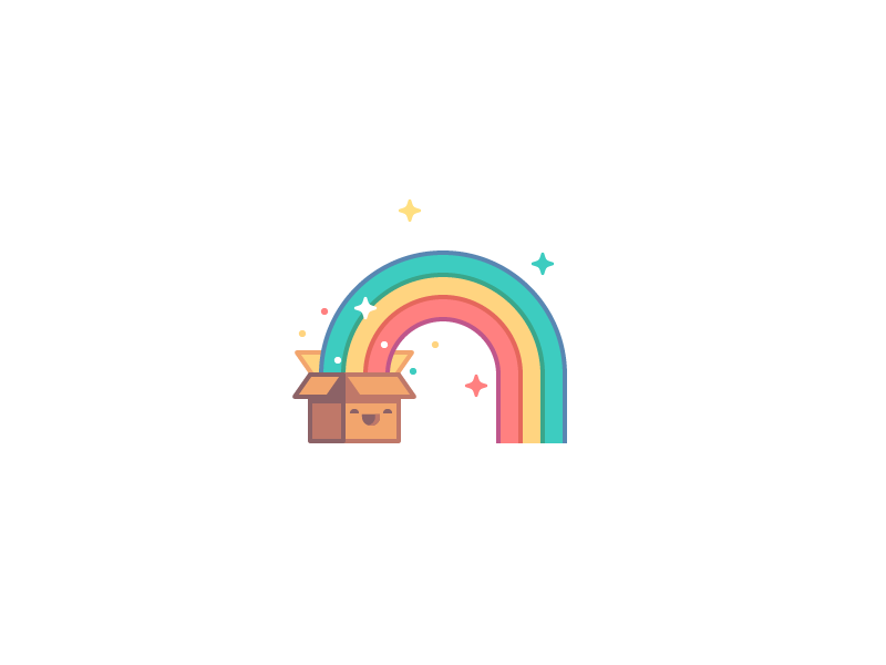 Archive Viewer smile cute stroke box rainbow icon logo