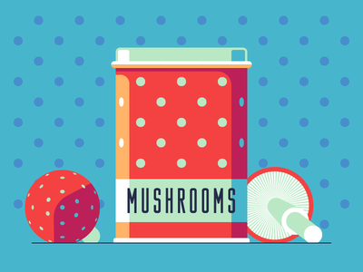 Amanita Box dot polka can box mushroom amanita