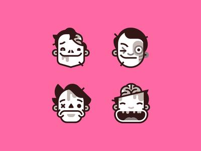 Smiling dead stubble gesture emotion blood haircut face emoticon brain zombie emoji smiley smile