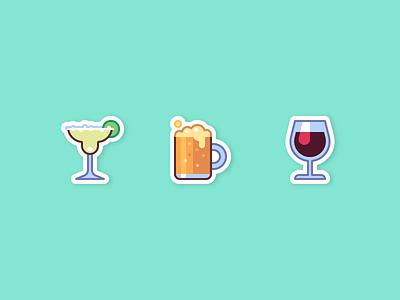 Drinks icon lime cocktail margarita wine beer sticker