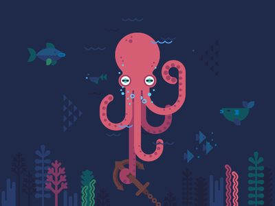 Octopus tbt darkness seaweed sea fish animal underwater undersea kraken anchor