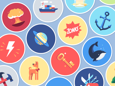 Zonks key anchor whale dog lightning bolt ship badge saturnus sticker