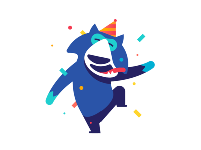 Party Party Yeah imessage ios sticker party character animal wolf